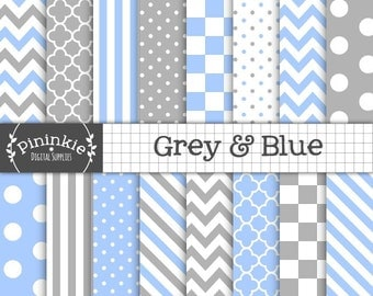 Grey and Blue Digital Paper, Chevrons, Polka Dots, Stripes, Instant Download, Commercial Use, Scrapbooking Paper,Blue and Grey Digital Paper