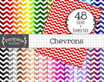 8.5 x 11 Chevron Digital Papers, Instant Download, Commercial Use, 48 x Scrapbooking Papers