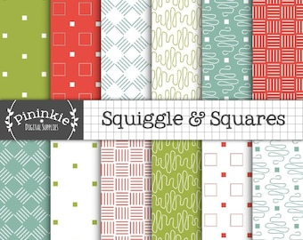 Squiggles and Squares Digital Paper, Digital Scrapbook Paper, Instant Download, Commercial Use