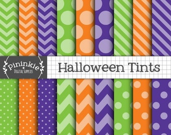 Halloween Scrapbook Paper, Halloween Digital Paper, Digital Background, Halloween Patterns, Polka Dots, Chevrons, Diagonal Stri