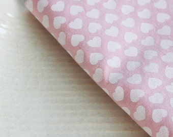 Valentine's Day Napkins - Pink with White Hearts - Set of 4 Reversible Cloth