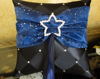 Wedding Ring Bearer Pillow, Black and Blue or Custom Made to your Colors with Crystal Star Decoration