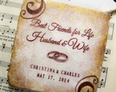 Wedding Coaster Gift Set, Best Friends for Life, Husband and Wife, Personalized Wedding Gift Coasters, Set of 4 Custom Coasters