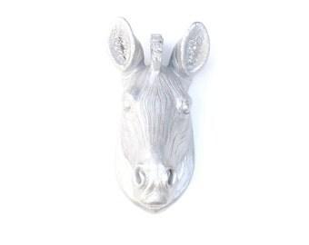 Faux Taxidermy - Miniature Silver Zebra Wall Mount - Resin Wall Decor MZ10