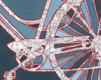 BIke Austin print ---featuring, Austin, Temple, Georgetown, University of Texas, Texas, archival bicycle print, bike art, cycle print