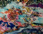 Turtle Merges with Earth Water Sky     -    Original batik painting