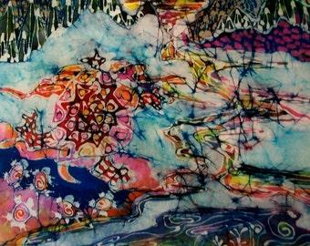 Turtle Merges with Earth Water Sky     -    Original batik painting