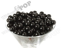 12mm - Black Licorice Gumball Beads, 12mm Gumball Beads, 12mm Beads, Small Gumball Beads, Opaque Acrylic Round Beads, 2mm Hole