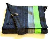 Crossbody Bag - Vegan Laptop Case - Seat Belt Messenger Bag - Black and Green Seatbelt Bag (M-7)