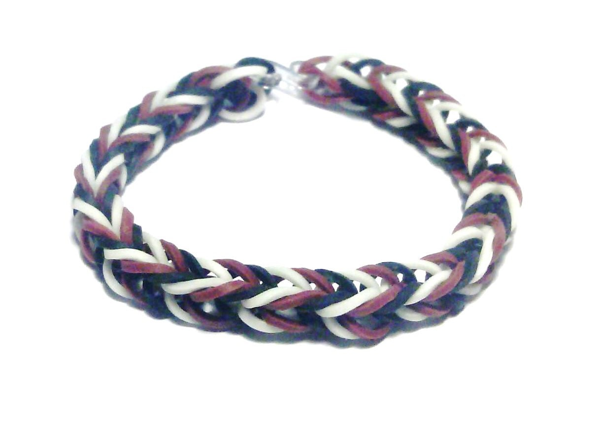 To brown black and white fishtail rainbow loom bracelet loom rubber