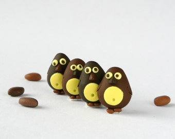 Chocolate Penguin Post Earrings - Sweet animal jewelry - Valentines - Fun gift for women and girls - Brown studs