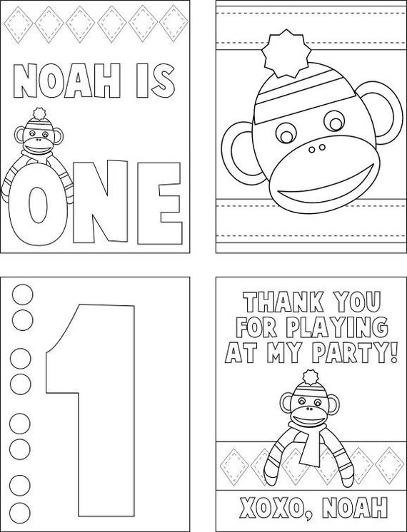 Set Of 25 Sock Monkey Birthday Coloring Books
