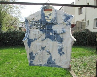 Denim Studded Vest  / Size XL / Cut Off / Motorcycle / Distressed