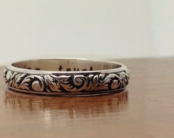 Poesy hand stamped, floral vines wedding band, sterling silver, Custom made to order