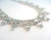 Vintage Rhinestone Necklace Collar Choker Clear Double Row Baguettes 1950s Hollywood Regency Jewelry