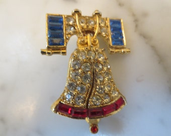 Vintage red White and Blue Liberty Bell Brooch