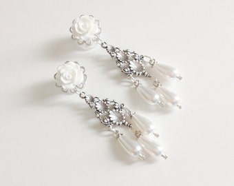 4mm 6g Bridal Dangle Plugs 4g White Wedding Gauges, 00g 0g Gauged Earrings Choose Color, 6mm 2g Ear Plugs Pearl Chandelier Plugs Piercing