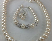 Cream colored pearl necklace with rhinestone spacer beads, bridesmaids necklace, brides jewelry statement necklace