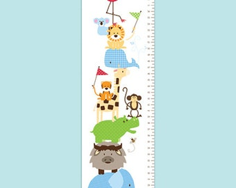 Personalized Modern Zoo Animals Growth Chart - Zoo Friends