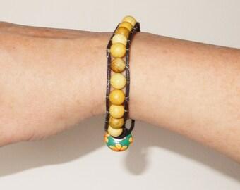 Beaded wrap bracelet with natural yellow Jasper beads - Fabric cord - Single wrap bracelet - Sterling Silver - Gemstone jewellery