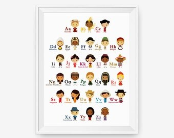 French Alphabet - Children Of The World With Their National Costume Wall Art Poster, Nursery Wall Art, Children Decor