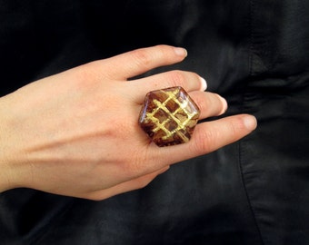 Statement cocktail ring, brown hexagonal cocktail ring, chunky geometric ring, ornate gold filigree, adjustable, eco chic