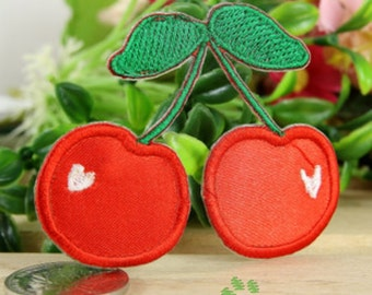 Iron on Fabric Patches - Red Cherries - Set of 2 - FP63