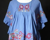 Butterfly Sleeves Women Top Shirt Blouse T-shirt Tunic Cotton Embroidered Tunic Ladies Summer