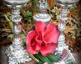 "My Fabulous Wedding 4 Piece Candle Holder Set-11.5"" down to 8""-Silver Reception,Paris Wedding,Formal Event Decor,Baroque Home,Modern Bride"