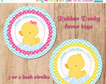 RUBBER DUCKY favor tags - baby shower or birthday  - YOU print