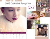 "2015 CALENDAR TEMPLATE ""PURE"" 5x7 12 months plus 4 cover design"