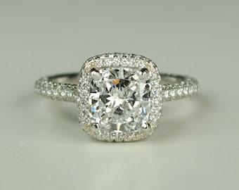 GIA Certified Platinum Diamond Cushion Cut Engagement Ring
