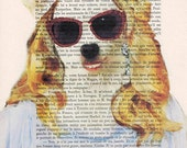 Madonna with sunglasses: Print Poster Illustration Acrylic Painting Animal Portrait Wall Decor Wall Hanging Wall Art Drawing Glicee