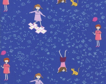 Half Yard Hello Petal Playtime in Lovely Cobalt Blue, Aneela Hoey, Moda Fabrics, 100% Cotton Fabric, 18561 17