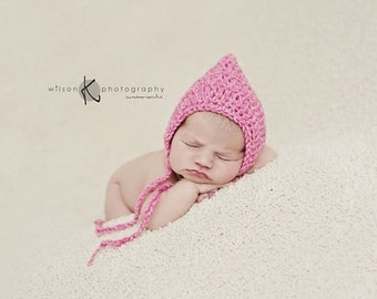 Choose your colour. Pure and simple pixie bonnet, hood. Size newborn. Great photo prop.