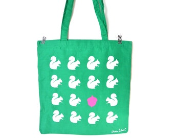Fall Green tote bag with squirrels and  neon pink acorn.
