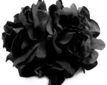 Seductive Lush Floral Black Noir Full Double Rose Fascinator with Elegant Raven Petal Hydrangeas and Three Black Faceted Jewel Details