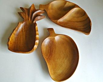 SALE  3 Vintage Wood Serving Bowls Teak Bowl