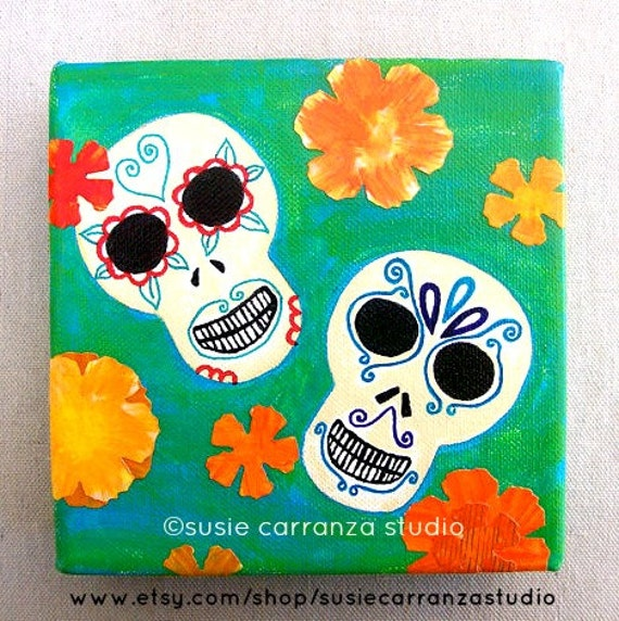 "Original 6"" X 6"" Canvas Art - ""Sugar Skulls"" - Day of the Dead Whimsical Art"