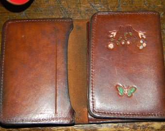 1970s hippie Wallet .W/ Butterflies & Flowers/ RARE TRIFOLD Thin style Supple cowhide.fLORAL WALLET.In an Italian Blog !