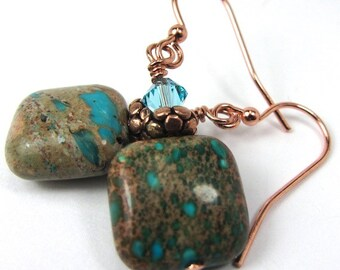 Blue Aqua Terra Gemstones and Light Turquoise Swarovski Crystal Earrings