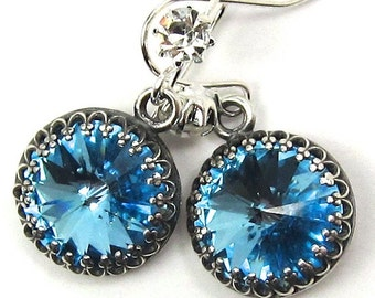 Aquamarine Swarovski Crystal Earrings with Lots of Sparkle