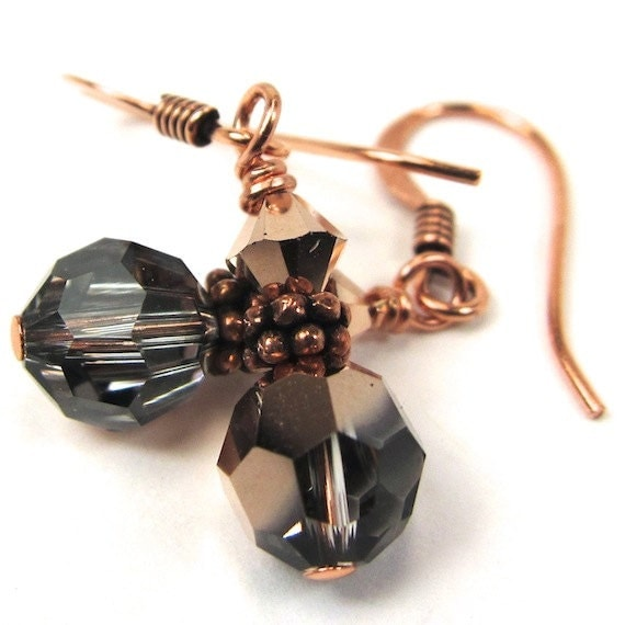 Rose Gold Swarovski Earrings, New Color for Spring/Summer 2014