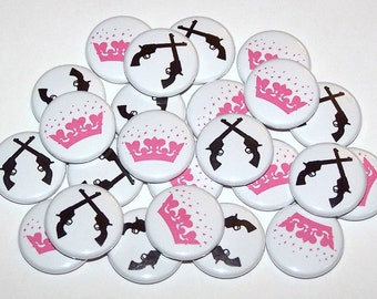 """Pistol Guns Glitter Crowns Gender Reveal Party Set of 24 Buttons Baby Shower Favor 1"""" or 1.5"""" or 2.25"""" Pin Back Button Pink Black 1"""" Magnets"""