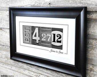 Established Date Print UNFRAMED, Date Number Art , frame your date, photo numbers and dates, wedding gift