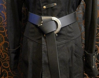 Long belt with a 3'' engraved ring and 2'' wide high quality 9oz leather belt. Viking, LARP.