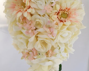 """17 Piece Package Wedding Bridal Bride Maid Honor Bridesmaid Bouquet Boutonniere Silk Flower PEACH TURQUOISE MALIBU """"Lily Of Angeles"""" TUPI01"""