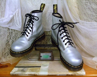 Rare Vintage World AIDS Day Iridescent Silver Dr Martens Original 8i Combat Boots UK 7  / USA  Men's 8 or Women's 9 - 9 1/2  Made In England