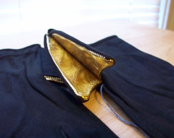 Vintage black suede gloves with gold bow detail made in France