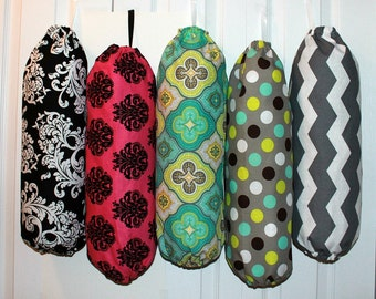 grocery bag holder dispenser trash bag holder plastic bag holder kitchen organizer you pick your fabric - Trash Bag Holder